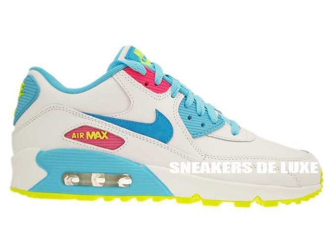 Nike Air Max 90 Chaussures Blanc / Bleu Lagon Volts-wmns Pour Les Hommes