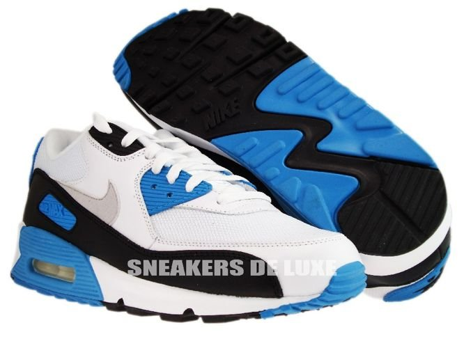 ... Nike Air Max 90 White/Black-Zen Grey-Laser Blue 325018-108 ...